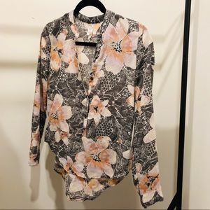 Nordstrom blouse with grey and peach floral!